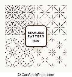 Set of vector seamless patterns from dot stars and flowers