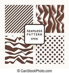 Set of vector seamless monochromatic patterns with broken lines
