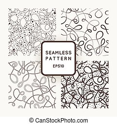 A set of four vector seamless patterns of curled lines