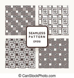 A set of four vector seamless patterns. Squares. Intersection.