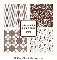 A set of four vector seamless patterns. Waves. Flowers.
