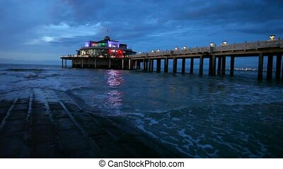 The Belgium Pier at night - The Belgium Pier illuminated at...