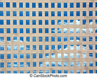 Architectural background with clouds reflection