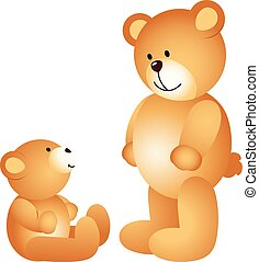 Teddy bear dad with son - Scalable vectorial image...