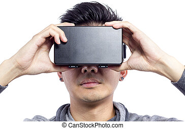 Close Up of Man Wearing VR Goggles - Man wearing virtual...