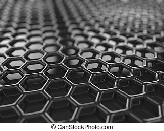 Carbon grille background - Abstracct black hexagonal carbon...