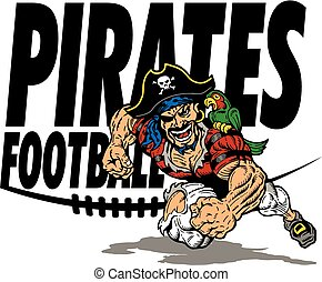 pirates football team design with running mascot