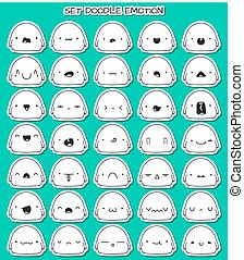 Set of 35 stickers cute sketch characters with doodle...