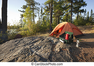 Campsite in the north woods of Minnesota - A campsite with...