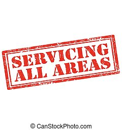 Servicing All Areas - Grunge rubber stamp with text...
