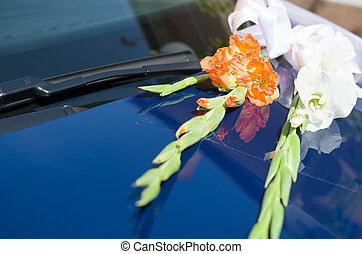 Gladiolus Flowers on Wedding Car Closeup - Orange and White...