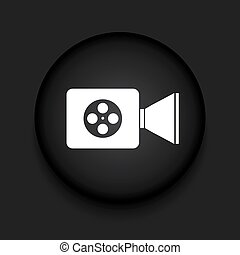 Vector modern videocamera black circle icon with shadow