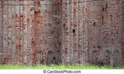old fortress wall - wall Veliky Novgorod Russia 16th century...