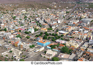 Aerial view of Tarrafal city in Santiago island in Cape...