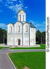 Cathedral of Saint Demetrius (XII c.) in Vladimir, Russia -...