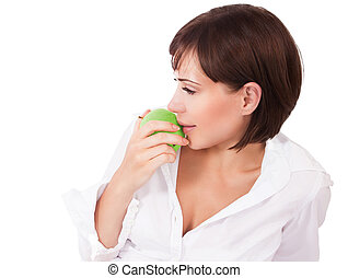Healthy eating woman - Beautiful young woman eating apple...