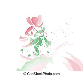 Ganesha dancing in water colors.