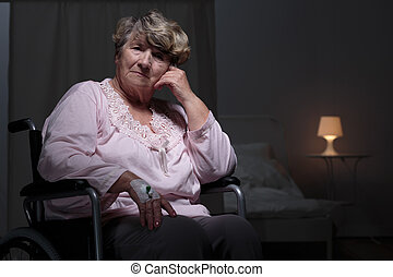Lonely woman in rest home - Lonely senior woman staying in...