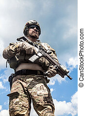 Army ranger - United States Army ranger with assault rifle