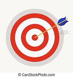 Targeting, achievement, business icon. Target hit by an...