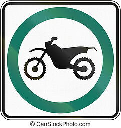 Dirt Bike Lane in Canada - Regulatory road sign in Quebec,...