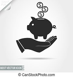 Higgy Bank with coins on the human Hand - vector icon