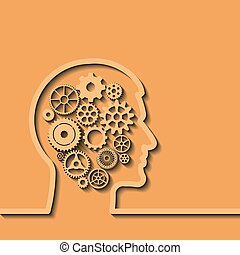 Gears in human head, Thinking process. Vector