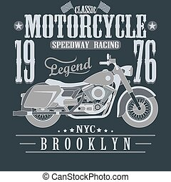 Motorcycle Racing Typography Graphics. Brooklyn Speedway...