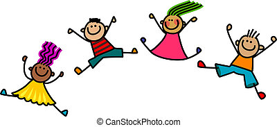 Jumping Kids - A group of happy and diverse stick children...