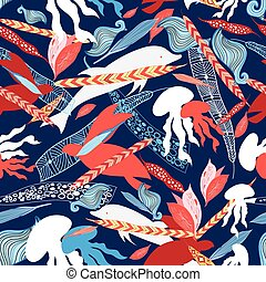 pattern sea creatures - vector illustration pattern sea...