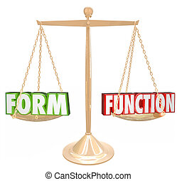 Form Over Vs Function Words Gold Scale Style Substance -...
