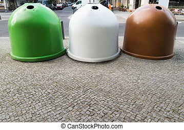 Three Recycling Bins Containers - Three Colorful Glass...