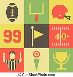 Vintage American Football Icons - A flat set of vintage...