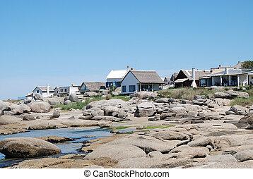 Punta del Diablo, Uruguay - View of typical constructions of...