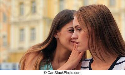 Girls whispering on a bench - Girls whispering secretive on...