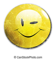winking smiley - a winking smiley on a white background