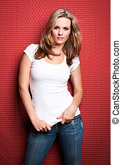 Beautiful Blond Woman - Beautiful blond woman in jeans and...