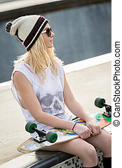 Pretty Blond Skater Girl