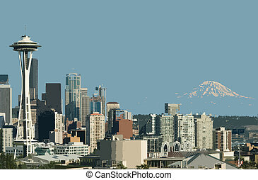Downtown Seattle Space Needle and Mt Rainier captured from...