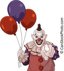 Scary Clown - The scary clown holds balloons