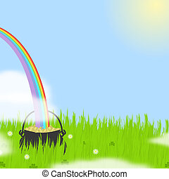 St Patrick\'s Day Scene - Illustration of a rainbow plunging...