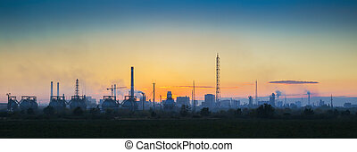Industrial landscape at sunset - Panoramic view of the...