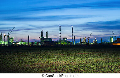 View of the industrial landscape at night - Panoramic view...