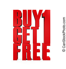 Buy One Get One Free Text isolated on white background 3D...