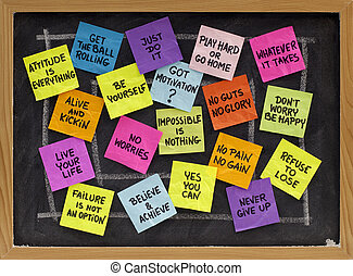 motivational slogans and phrases - colorful reminder notes...