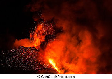 Mount Etna Eruption and lava flow - Eruption and lava flow...