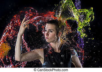 Modern Woman Being Splashed with Colorful Water - Trendy...