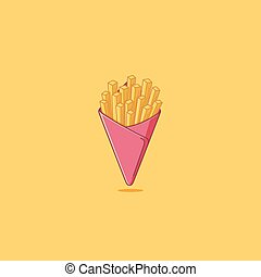 French Fries - French fries simple illustration