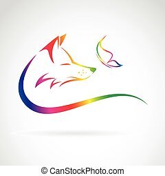 Vector image of fox and butterfly on white background