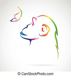 Vector image of monkey and butterfly on white background